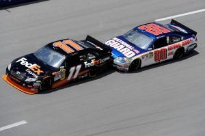 2010 Talladega Apr NSCS Denny Hamlin leads Dale Earnhardt Jr