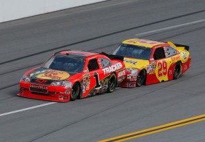 2010 Talladega Apr NSCS Kevin Harvick pushes Jamie McMurray