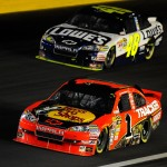 2010_Charlotte_Oct_NSCS_Jamie_McMurray_leads_Jimmie_Johnson