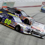 2011BristolMar_NSCS_Race_Hamlin_Vickers_Reutimann_Spin