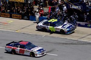2011TalladegaApr_NSCS_Race_Jimmie_Johnson_and_Dale_Earnhardt_Jr_Pit
