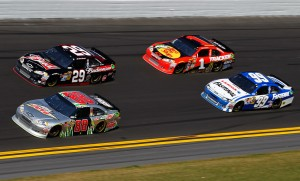 2012 Daytona Feb NSCS Duel 1 Dale Earnhardt Jr leads