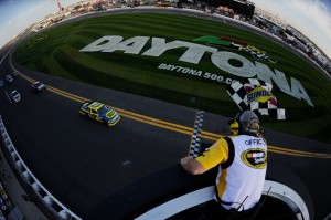2012 Daytona Feb NSCS Duel 2 Matt Kenseth crosses finish line