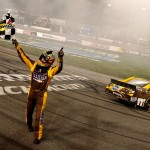 2012_Richmond_April_NASCAR_Sprint_Cup_Kyle_Busch_Waves_Checkered_Flag