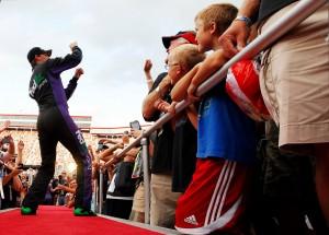 2012_Bristol2_Denny_Hamlin_Dances_During_Driver_Introductions