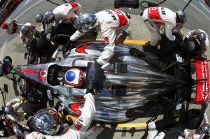 Jenson Button makers a pit stop