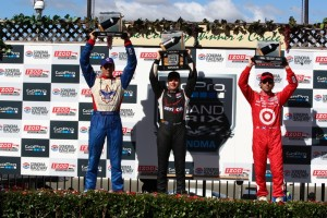 Podium von Sonoma (C) IndyCar Media/Chris Jones
