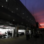 The Vodafone McLaren Mercedes garage at night