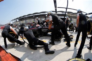 Jenson Button makes a pit stop.
