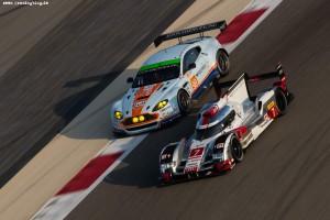 Car #7 / AUDI SPORT TEAM JOEST (DEU) / Audi R18 e-tron quattro Hybrid / Marcel Fassler (CHE) / Andre Lotterer (DEU) / Benoit Treluyer (FRA)- 6 Hours of Bahrain at Bahrain International Circuit - Sakhir - Bahrain